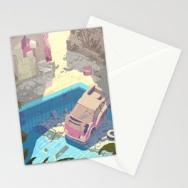 Abandoned swimming pool - Pixel art by Romain Courtois Stationery Cards
