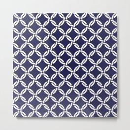 Blue & White Rattan Metal Print