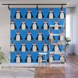 Cute Christmas Colorful Penguins With Santa Hat Pattern Wall Mural