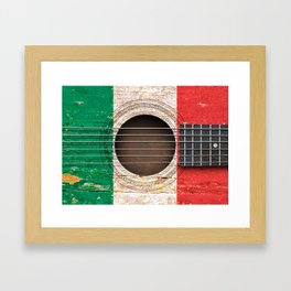 Old Vintage Acoustic Guitar with Italian Flag Framed Art Print