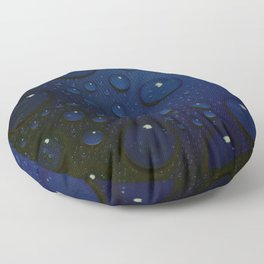Midnight Blue to Stars in Droplets Polka Dots Floor Pillow