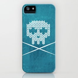 Knitted Skull (White on Blue) iPhone Case