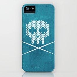 Knitted Skull (White on Blue) iPhone Case
