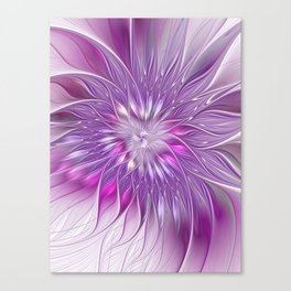 Pink Flower Passion, Abstract Fractal Art Canvas Print