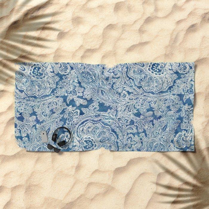 Blue Boho Paisley Pattern Beach Towel