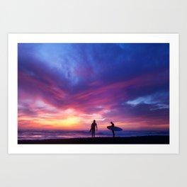 Surfer's Sunset Art Print