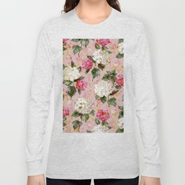 Vintage green pink white bohemian hortensia flowers Long Sleeve T-shirt
