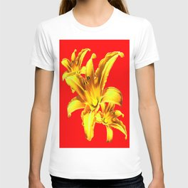 Yellow Day Lilies on Chinese Red  T-shirt