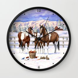 Bay Pinto Paint Horses In Snow Wall Clock