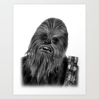 chewbacca Art Prints featuring Chewbacca by axemangraphics