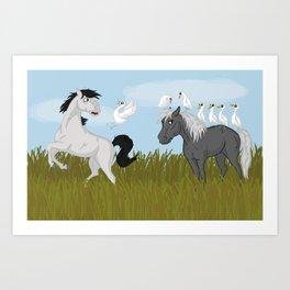 Camargue horse's trouble Art Print