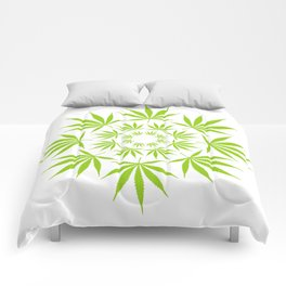 Cannabis Leaf Circle (White) Comforters