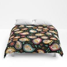 Hedgehog Paisley_Party Colors Comforters