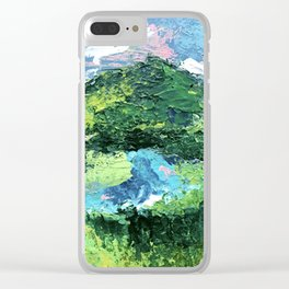 Gunnison: a vibrant acrylic mountain landscape in greens, blues, and a splash of pink Clear iPhone Case