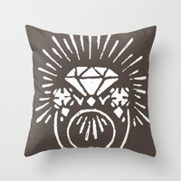 lord of the ring Throw Pillows featuring Ring by Shelley Barnes