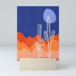 Blue Saguaro Cactus Mini Art Print