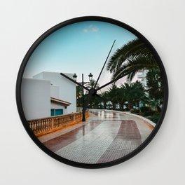 Ibiza east coast boulevard | palm-tree road | blue sky dine art photography  Wall Clock