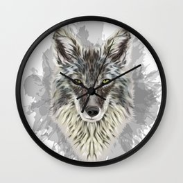 Coyote Stylized Digital Portrait Wall Clock