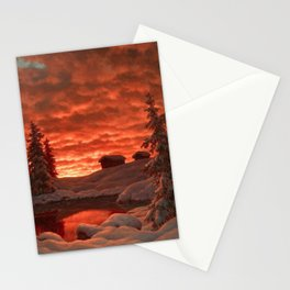 Classical Masterpiece 'Sunset in Winter' by Ivan Fedorovich Choultsé Stationery Cards