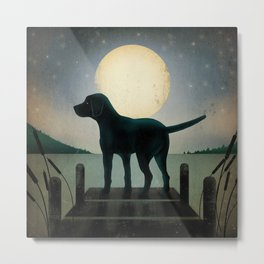 Black Dog Labrador Lake Dock Moon Cottage Cabin Metal Print