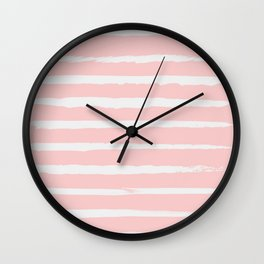 Irregular Hand Painted Stripes Pink Wall Clock