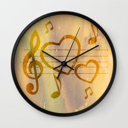 Colorful art Love Music 2 Wall Clock