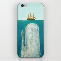 black and gold iPhone & iPod Skins featuring The Whale  by Terry Fan
