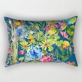 Watercolor flower garden with hummingbird Rectangular Pillow