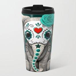 Teal Blue Day of the Dead Sugar Skull Baby Elephant Metal Travel Mug