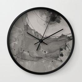Abstract Watercolor b/w Wall Clock