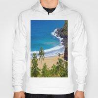 hawaiian Hoodies featuring Hawaiian beach by Ricarda Balistreri
