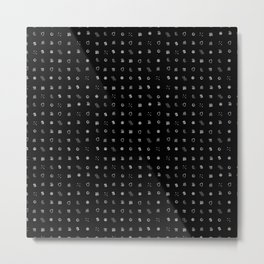 Ditsy Organelles - White on Black Metal Print
