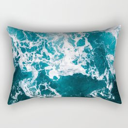 Blue Wave Network – Minimalist Oceanscape Photography Rectangular Pillow