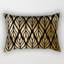 Havana Sultry Night Gold and Black Art Deco Rectangular Pillow