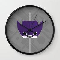 clint barton Wall Clocks featuring Marshmallow Clint Barton by Oblivion Creative