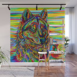 Colorful Psychedelic Rainbow Wolf Wall Mural