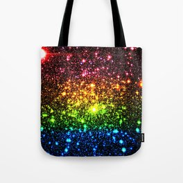 Rainbow Sparkle Galaxy Stars Tote Bag