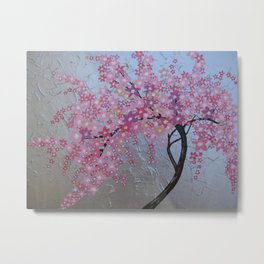 Pink cherry blossom - sakura with silver background Metal Print