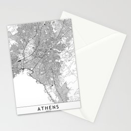 Athens White Map Stationery Cards