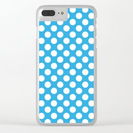 White Polka Dots with Blue Background Clear iPhone Case