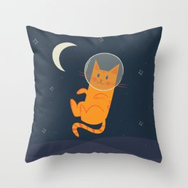 Floating Space Cat Throw Pillow