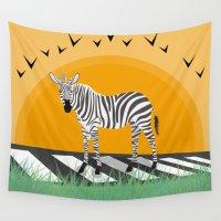 zebra Wall Tapestries featuring Zebra by Nir P