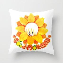 good morning sunflower boy Throw Pillow