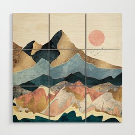 Golden Peaks Wood Wall Art
