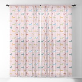 Multicolour Sausage Dog and Hearts Pattern (Pink) Sheer Curtain