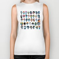 60s Biker Tanks featuring Heads by Alvaro Tapia Hidalgo