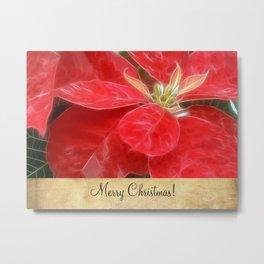 Mottled Red Poinsettia 1 Ephemeral Merry Christmas S2F1 Metal Print