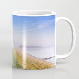 Typical Dutch landscape in Zeeland on a foggy morning Coffee Mug