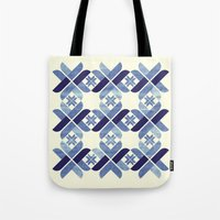 nordic Tote Bags featuring Nordic Blue by Kata