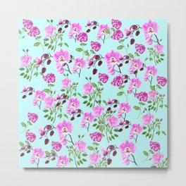 pink purple flowers watercolor painting Metal Print